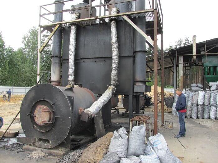 Цех и оборудование для изготовления древесного угля